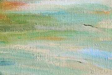 Oil paint on linen. Abstract art background. Coarse woolen fabric texture. Brushstrokes of paint.