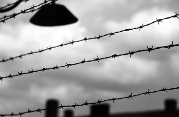 barbed wire to demarcate the prison camp