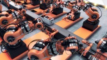 Robotic Factory assembling 3d printer on conveyor belt. 3d illustration