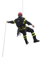 climber of firefighters with red helmet