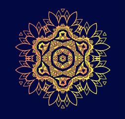 Creative mandala logo design. Symmetrical kaleidoscope pattern. For invitation, wedding, banner, greeting card. Vector illustration.