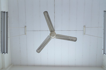 Dirty white ceiling Fan in room.