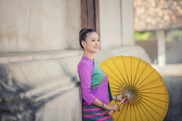Portrait of Beautiful Thai Women in Lanna traditional costume,