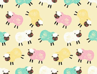 Sheep vector seamless pattern