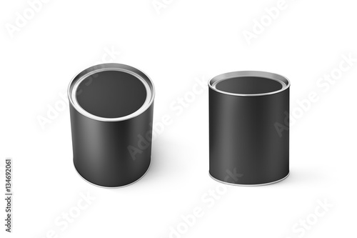 blank black round can mockup set isolated 3d rendering clear grey