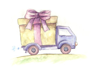 free delivery truck. hand drawn watercolor sketch
