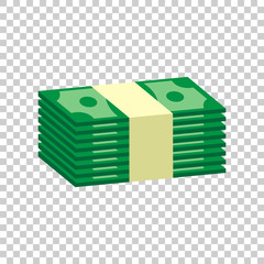 Stacks of money cash. Vector illustration in flat design on isolated background