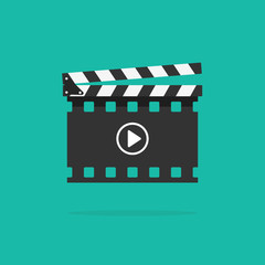 Clapperboard vector icon isolated on color background, flat style clapboard slate filmmaking device in filmstrip shape and play button, concept of film production symbol, video movie clapper equipment