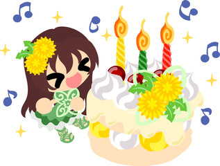 Illustration of a cute girl and a birthday cake