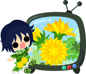 Illustration of a cute girl and a television program of dandelion
