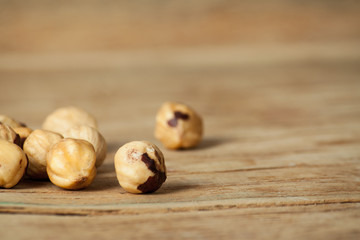 Roasted hazelnuts close up