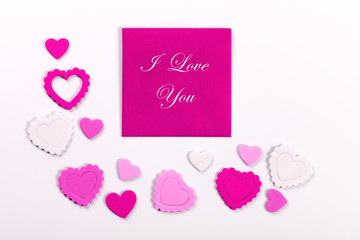 Photo frame or gift card with valentines heart shaped ribbon ove