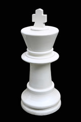 white chess king standing isolated on a black background