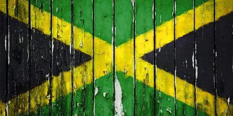 Illustration Flag of Jamaica on wooden background
