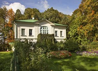 Yasnaya Polyana - Bright Glade homestead. Outbuilding of Kuzminsky in museum of Leo Tolstoy. Tula oblast. Russia