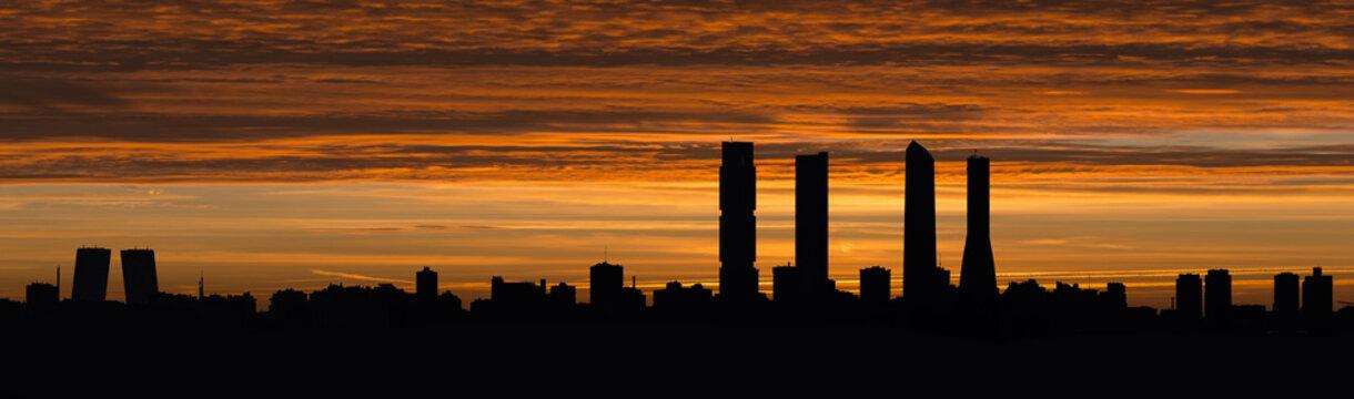 Skyline of Madrid at dusk
