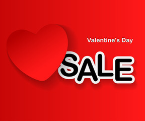 Valentine's Day Sale, red Heart and text on red background. Vector illustration.