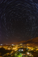 Star trails over the town of Metajna, Pag island, Croatia.