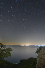 Starry skies above a beach on Cres island, Croatia.