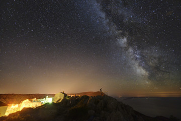 Starry skies over Lubenice, Cres island, Croatia.