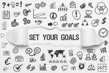 Set Your Goals / weißes Papier mit Symbole