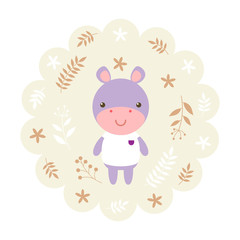 hippo , hippopotamus. vector illustration cartoon , mascot. funny and lovely design. cute animal on a floral background. little animal in the children's book character style.
