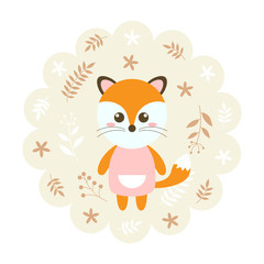 fox. vector illustration cartoon , mascot. funny and lovely design. cute animal on a floral background. little animal in the children's book character style.