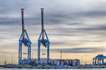 GENOA (GENOVA), ITALY, JANUARY 14, 2017 - Big Cranes in the port of Genoa (Genova), italy
