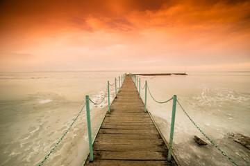 frozen lake Balaton