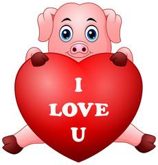 Cartoon pig holding red heart
