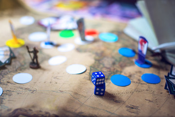 Dice are on the background fantasy Board games