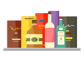 Drinks Alcohol Vector Concept in Flat Design.