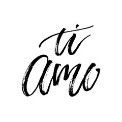 Ti amo I love you vector text calligraphy