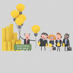 Businessman selling many great ideas