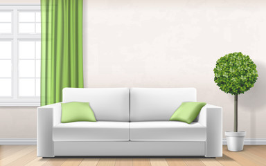 Modern interior with sofa, window and plant on flower pot. Vector realistic illustration.