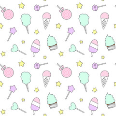 cute cartoon colorful seamless vector pattern with candies, ice cream, lollipop and cotton candy