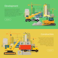 Construction Development Banner. Building Process.