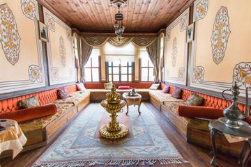 Old style Turkish konak country houses with tiled rooves in Taraklı, Sakarya, Turkey