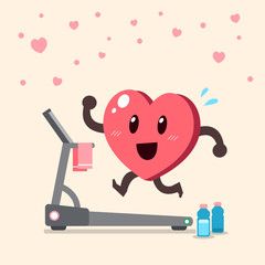 Cartoon heart character running on treadmill