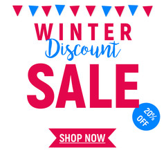 Winter Sale shop now button  and flags