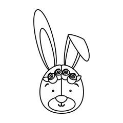 monochrome contour with face of bride rabbit vector illustration