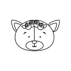 monochrome contour with face of bride bear vector illustration