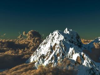 3d illustration dramatic alpine landscape