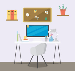 Creative flat workspace. Home room with workspace.