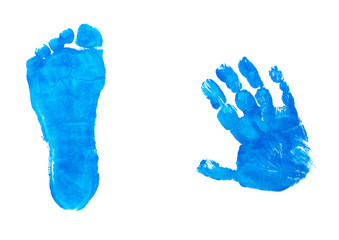 blue impression hand and feet from a child