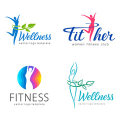Fitness and wellness vector logo design