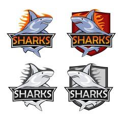 Sharks logo set. Animal hunter emblem, company branding shape, vector illustration
