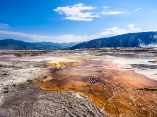 Amazing Nature of Mammoth Hot Springs in Yellowstone National Park, USA. Geothermal area with travertine terraces.