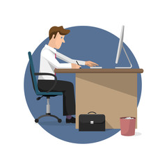 Vector illustration of businessman working in office