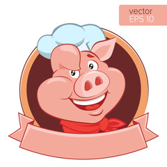 Happy Pig Chef Head Cartoon Vector Illustration. Logo On A White Background. Pig Cook Character. Bbq Theme. Lucky Cook. I Know How To Cook.